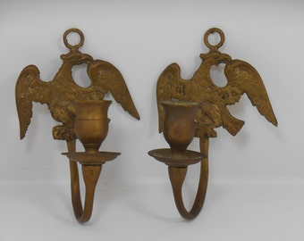 Vintage Brass Eagle Candle Wall Sconces, Pair of 2