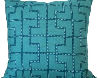 Bleecker In Peacock/Teal-End Designer Decorative Pillow Cover-Schumacher-Single Sided