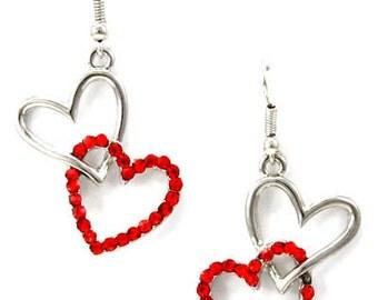 Valentine's Heart Earrings, Rhinestone Hearts, Red Earrings