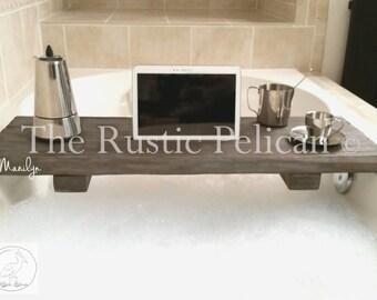 rustic bathtub caddywood bathtub tray bath shelf reclaimed wood barn wood