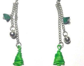 Christmas earrings with stones Malachite
