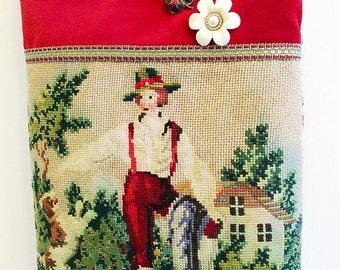 Handmade bag using unusual vintage tapestry and velvet