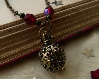 Brass filigree ball Aromatherapy necklace - crystal keeper