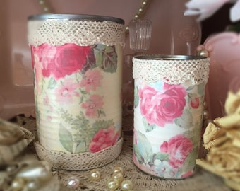 2 Shabby Chic Pink Rose Floral Tin Cans Vases Desk Vanity Boudoir Office Home Dorm Nursery Table Centerpiece Decor Mothers Day Gift For Her