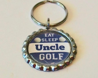 Navy Blue and White Eat Sleep Golf Uncle Father's Day Metal Flattened Bottlecap Keychain Great Gift