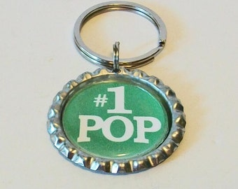 Bright Green #1 Pop Granfather Metal Flattened Bottlecap Keychain Great Gift