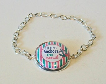 Preppy Chic Turquoise and Pink Stripe Nautical Hope Anchors My Soul Silver Chain Fashion Bracelet