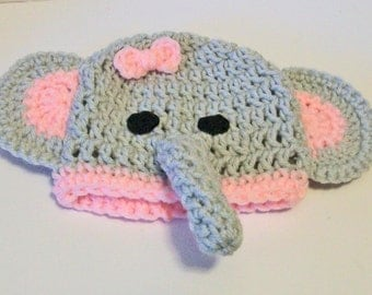 So Cute Pink and Gray Elephant Hand Crocheted Baby and Childrens Hat Great Photo Prop 5 Sizes Available