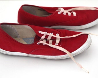 Vintage 80s keds shoes red canvas womens 7.5