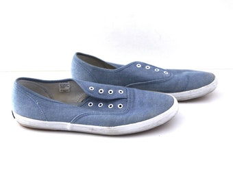 Vintage 80s keds shoes blue chambray jean canvas womens 9.5