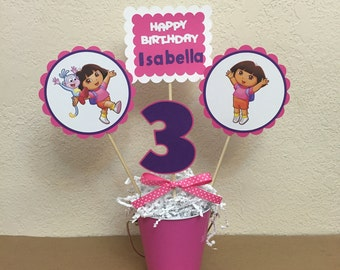 Dora the Explorer Birthday Centerpiece, Dora Birthday, Dora Birthday, Boots Centerpiece, Dora and Boots