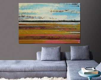 Painting, Abstract Art, Canvas Wall art Long striped distance 468, On canvas, Original Art, Landscape Art, Abstract Painting, large artwork