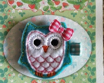 Turquoise and White Owl Hair Clip