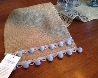 Modern rustic shabby chic table runner from recycled coffee bag burlap and pom pom trim