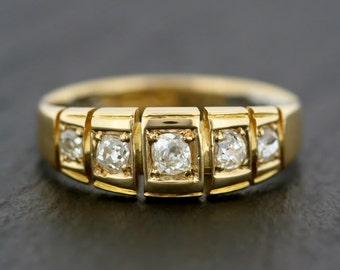 Antique Diamond Ring - Edwardian Five-stone Diamond 18ct Gold Ring - Diamond Anniversary Ring