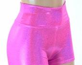 High Waist Neon Pink Metallic Holographic Spandex Booty Shorts Rave, Festival, Clubwear  -152120