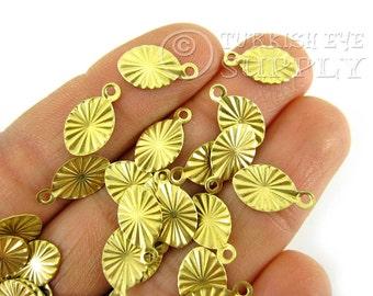 100 Pcs 13x7mm Raw Brass Oval Charms, Raw Brass Jewelry Findings