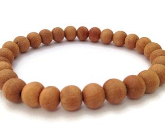 Natural Tibetan Wood Beads Stretch Wrist Mala Bracelet