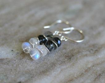 Rutilated quartz earrings, moonstone earrings, rutilated quartz jewelry, moonstone jewelry gift, quartz earrings, Argentium silver ear wires
