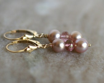 Freshwater pearl, pink topaz earrings, pearl drop earrings, 14k gold fill lever back ear wires, bridal earrings, new for Fall, gift for her