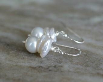 Pearl drop earrings, freshwater pearl dangle earrings, Keishi pearl earrings, pearl jewelry gift for her, bridal earrings, silver ear wires
