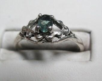 Ladies genuine mined alexandrite sterling silver ring