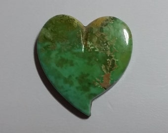 Green/Brown Turquoise Heart Cabochon