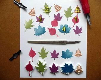 Leaf Rubber Stamps, Hand Carved, Woodland Designs, Leaves stamp