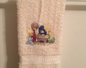 Embroidered Precious Moments ~NATIVITY SCENE~ Christmas Kitchen Bath Hand Towel