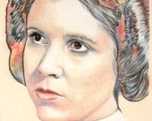 Original, one-off portrait of Carrie Fisher as Princess Leia, in charcoal and pastel on calico
