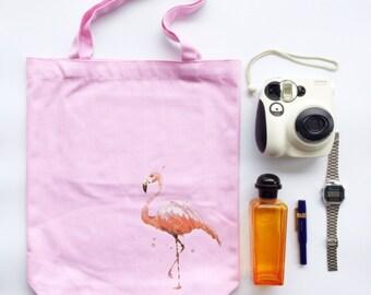 "Bakeriest "" Pink Flamingo Canvas Tote Bag Shopper Shoulder Purse with Pocket"
