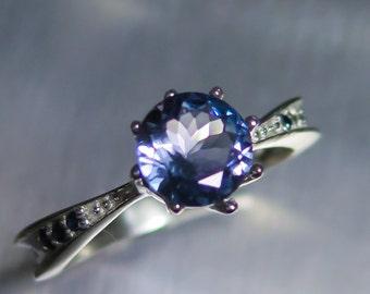 Natural light blue Tanzanite & sapphires Sterling 925 Silver 9ct 14k 18k Yellow Red White Gold Platinum Palladium engagement ring all sizes