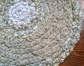 Blue and Green Silk and Floral Braided Rug