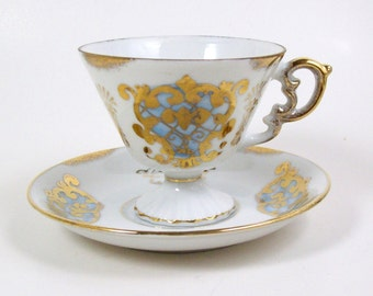 Vintage Footed Tea Cup Gold Decoration Blue Accents UCAGCO United China & Glass