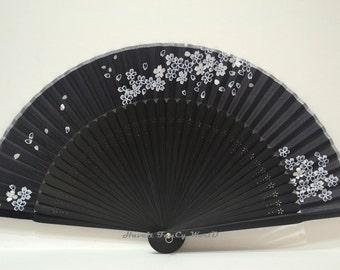 Hand Fan Japanese Black with Pattern #2, Mysterious, Kimono Sensu, hand fan, wedding fan, SAKURA, folding fan