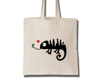 Chameleon in Love Cotton Tote Bag Women