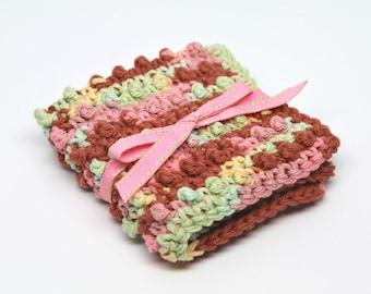 Crochet Washcloth- Cotton Washcloth- Makeup Washcloth- Exfoliating Washcloth- Face Scrubbie - multi colored