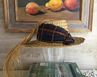 Vintage Straw Hat with African Fabric + Straw Strands