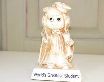 Sillisculpts  WR Berries Collectible Russ Berrie Figurine Statue Girl Figure Worlds Greatest Student Diploma 1970s 722 USA Made Award