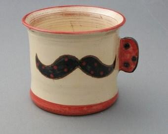 Mug céramique fait main Moustache émail vintage Noir blanc rouge pois hipster Old School Tattoo cadeau personnalisé cadeau papa unique