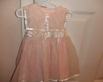 Peach and White Party Dress - 18 Mos.