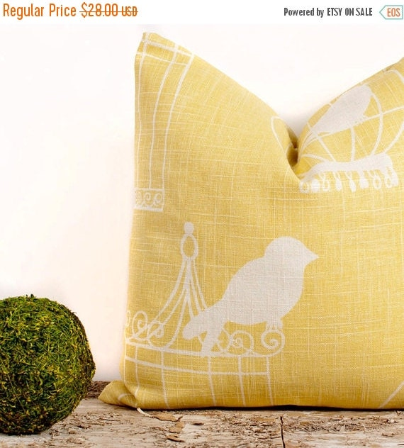 Yellow Bird Throw Pillows : SALE ENDS SOON Yellow Bird Cage Throw Pillow Yellow by LilyPillow