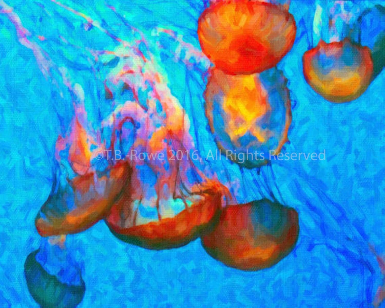 Orange Jellyfish Art On Canvas Canvas Art Print Canvas Art