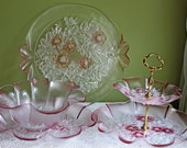 Cake Stand. Pink Glass Cake Stand.  Dessert or Pastry Two Tier Display with Metal Handle in Center.