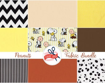 PEANUTS SNOOPY Fabric Bundle Fabric by the Yard Fat Quarter Yellow Charlie Brown Fabric Quilting Fabric 100% Cotton Fabric Apparel Fabric