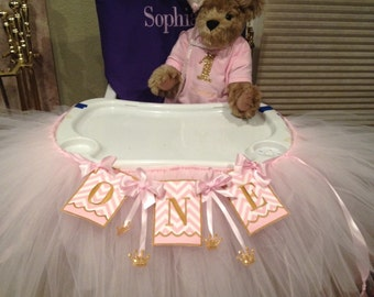 Pink and White with gold crowns Embroidered High Chair Banner and Tutu, One,  Baby's first birthday, 1St birthday