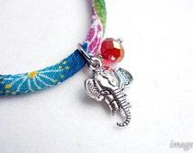 Ganesha Charm in dull silver for Kimono Bracelets, mammoth elephant god charm with a glass bead - pick your glass bead