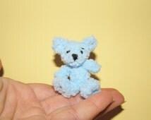 Blue plush bear - stuffed bear miniature stuffed animal toy Plush Teddy bear dollhouse bear me to you bear gift ideas for any occasion