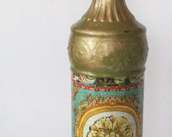 Decorative  tall glass corked bottle handpainted decoupage vintage shabby chic home decor gift home accent