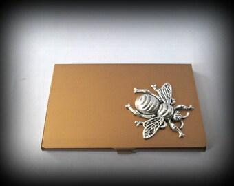 Slim golden Stainless steel business card holder-credit card holder-bee card holder-gothic card holder-steampunk business card holder